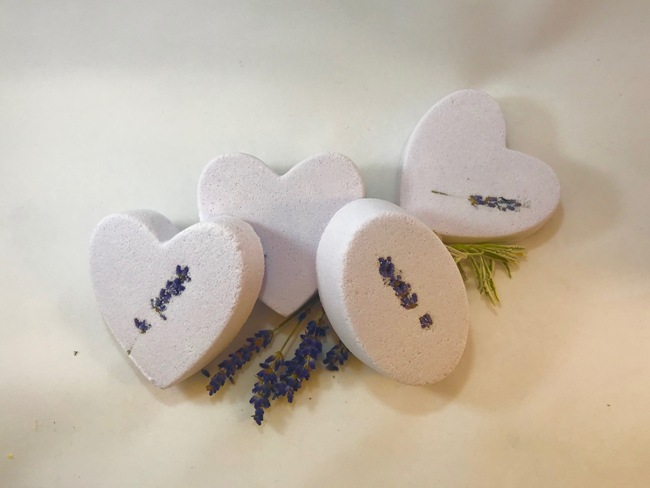 Lavender Sage Bath Bombe - Heart-shaped
