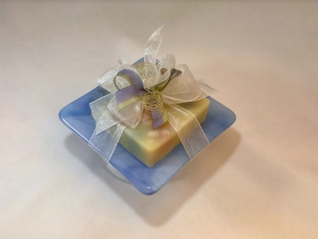 Blue Fused Glass Soap Dish With Soap