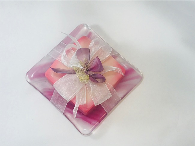 Pink Fused Glass Soap Dish With Soap